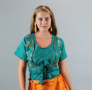 Formal Silk Embroidered Teal Blue Long Crop Top
