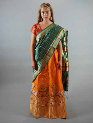 Banarasi Silk Brocade Apricot Orange Lehenga