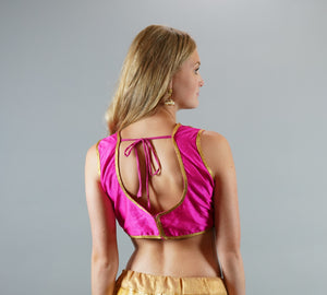 Formal Silk Hot Pink With Embroidered Gold  Neckline Crop Top
