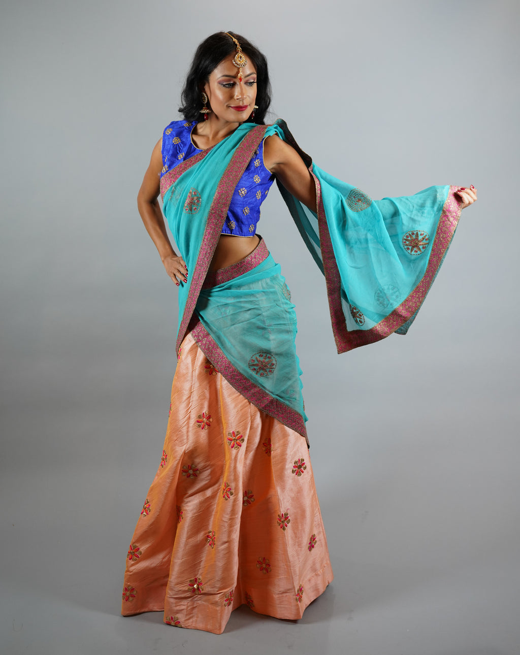 Silk Embroidered Light Tangerine Peach Lehenga Skirt