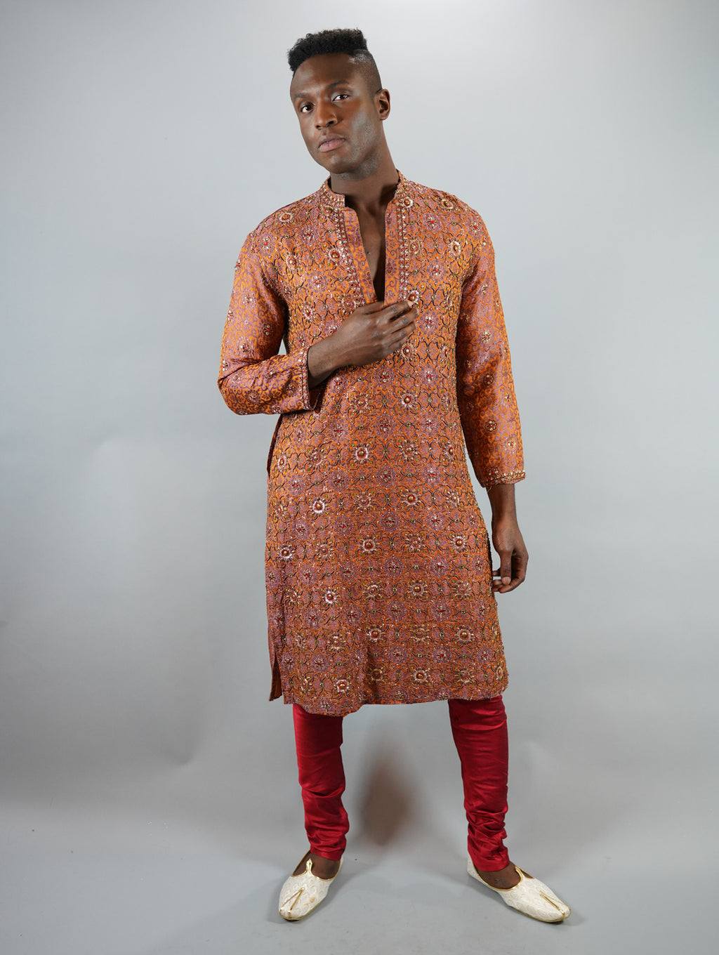 Silk Heavy Embroidered Apricot Orange Men's Kurta