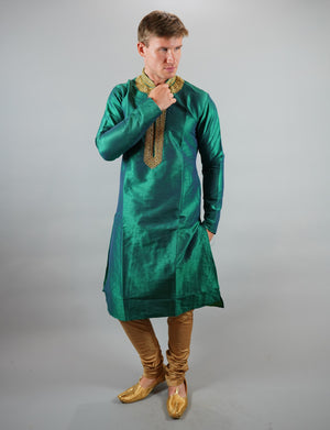 Silk Embroidered Dark Sea Green Men's Kurta
