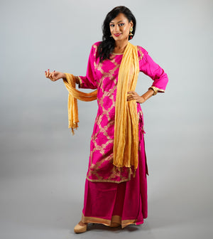 Cotton Printed Magenta Pink Anarkali Split Lehenga
