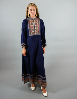 Cotton Block Printed  Space Blue Gown