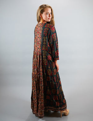 Cotton Block Printed Uniform Green Gown