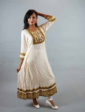 Cotton Off White Gown With Printed Border