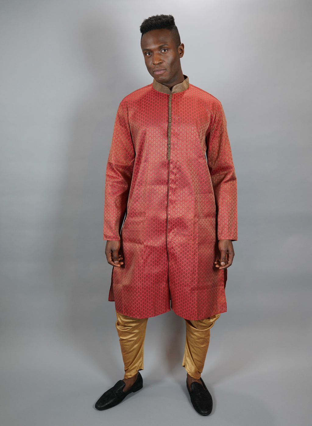 Silk Vermillion Red All Button Down Men's Kurta