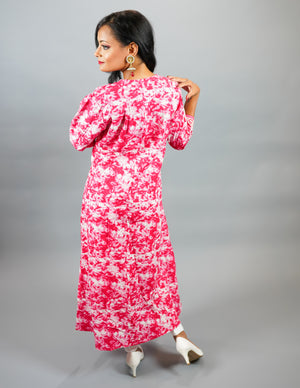 Cotton Block Printed Floral Dark Bubblegum Pink Gown With Attached Shrug