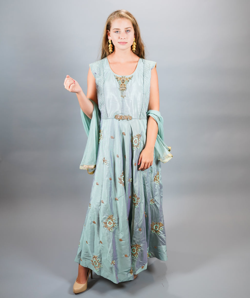 Silk Embroidered Carolina Blue Gown