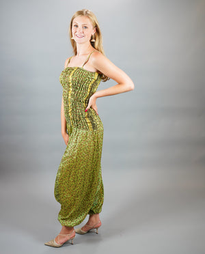 Silk Block Printed Floral Army Green Jumpsuit