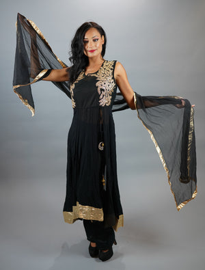 Georgette Embroidered Crow Black Salwar Kameez