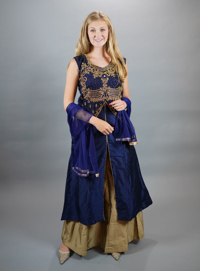 Silk Embroidered Space Blue Anarkali Split Lehenga