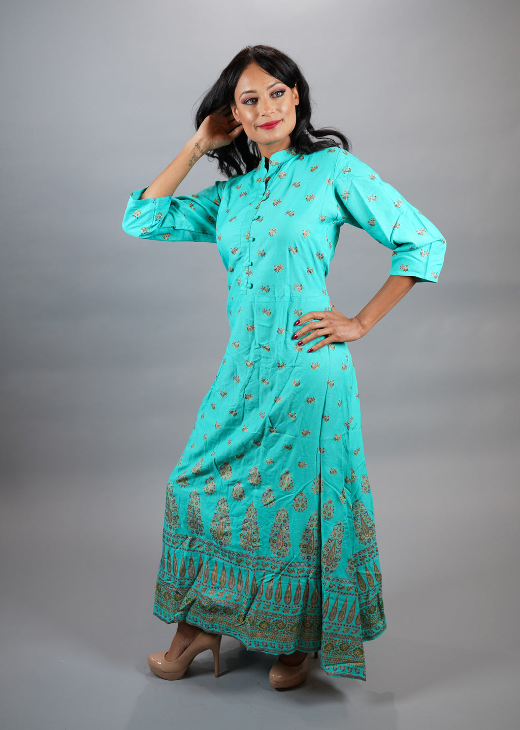 Cotton Block Printed Floral Arctic Blue Gown