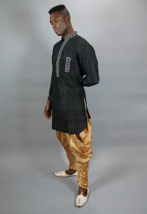 Silk Coal Black Men's Kurta