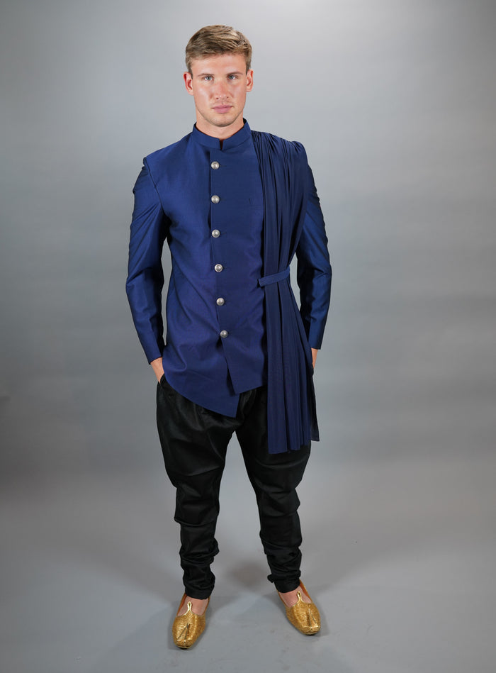 Silk Royal Blue Asymmetric Bandhgala With Attached Scarf Jacket