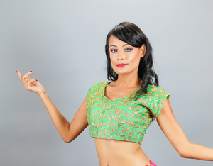 Silk Embroidered Emerald Green Crop Top