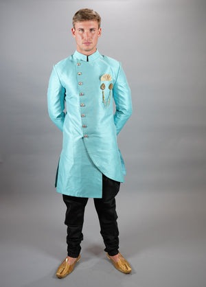 Silk Asymmetric Electric Blue Long Sherwani / Jacket