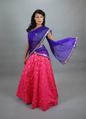 Silk  Embroidered Punch Pink Lehenga Skirt