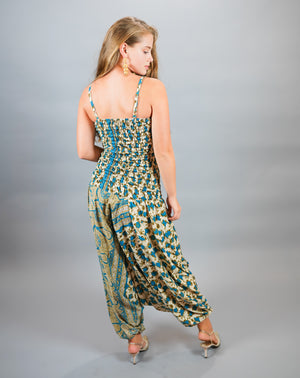 Silk Block Printed Floral Sark Olympic Blue Jumpsuit
