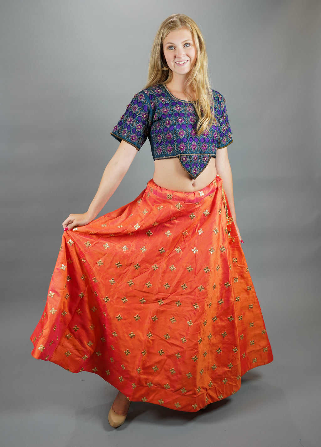 Silk  Embroidered Tiger Orange Lehenga Skirt