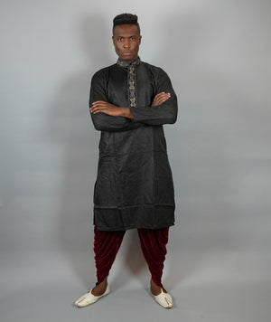 Silk Self Print Brocade Black Men's Kurta
