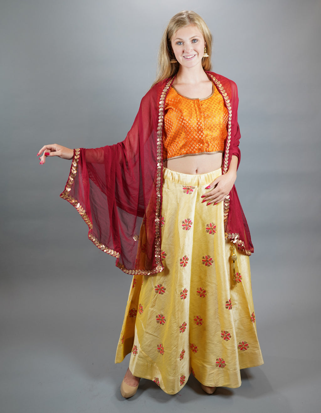 Silk Embroidered Banana Yellow Lehenga Skirt
