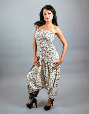 Silk Block Printed Pearl White With Black Jumpsuit