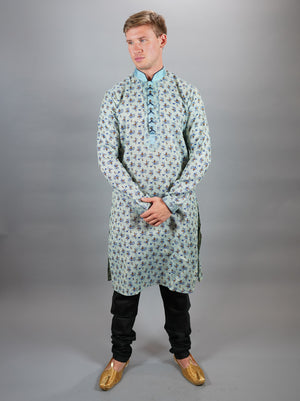 Cotton Silk  Printed Maya Blue Men's Kurta