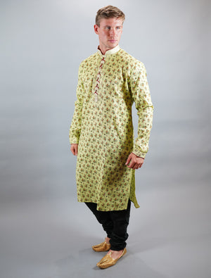 Cotton Silk  Printed Chartreuse Green Men's Kurta