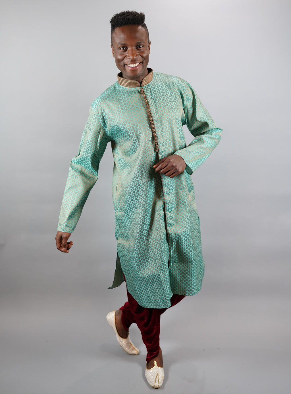 Silk Turquoise Blue All Button Down Men's Kurta