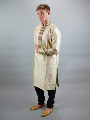 Silk Lace White Men's Kurta