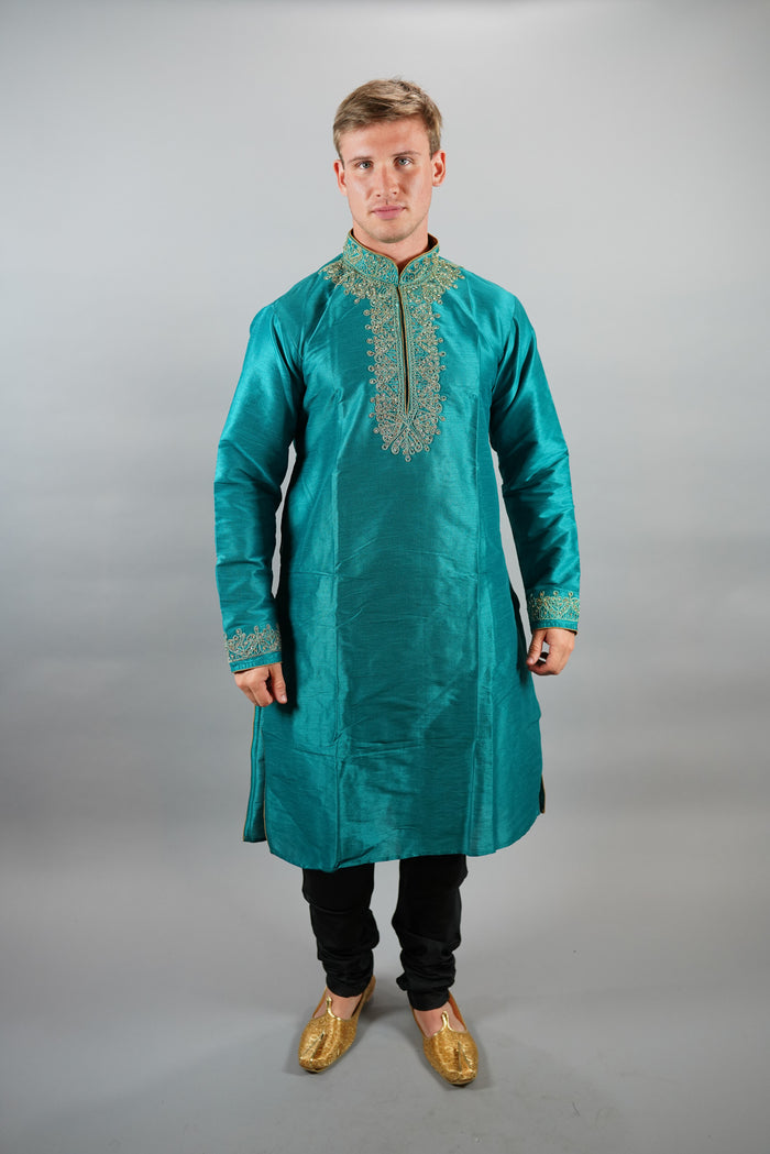Silk Embroidered Teal Blue Men's Kurta