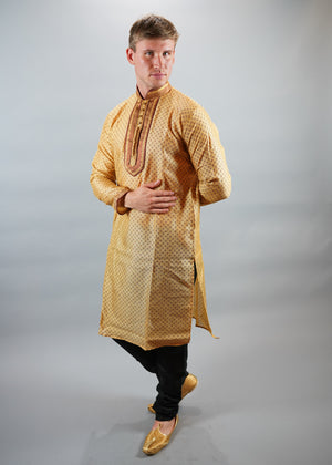 Silk Butterscotch Yellow Men's Kurta