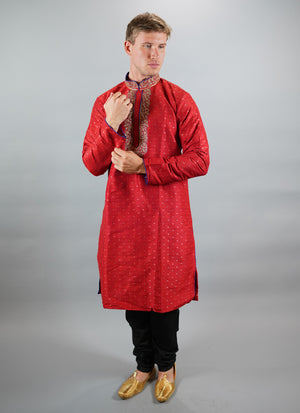 Silk Embroidered Chilli Red Men's Kurta