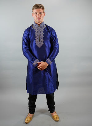 Silk Embroidered Egyptian Blue Men's Kurta