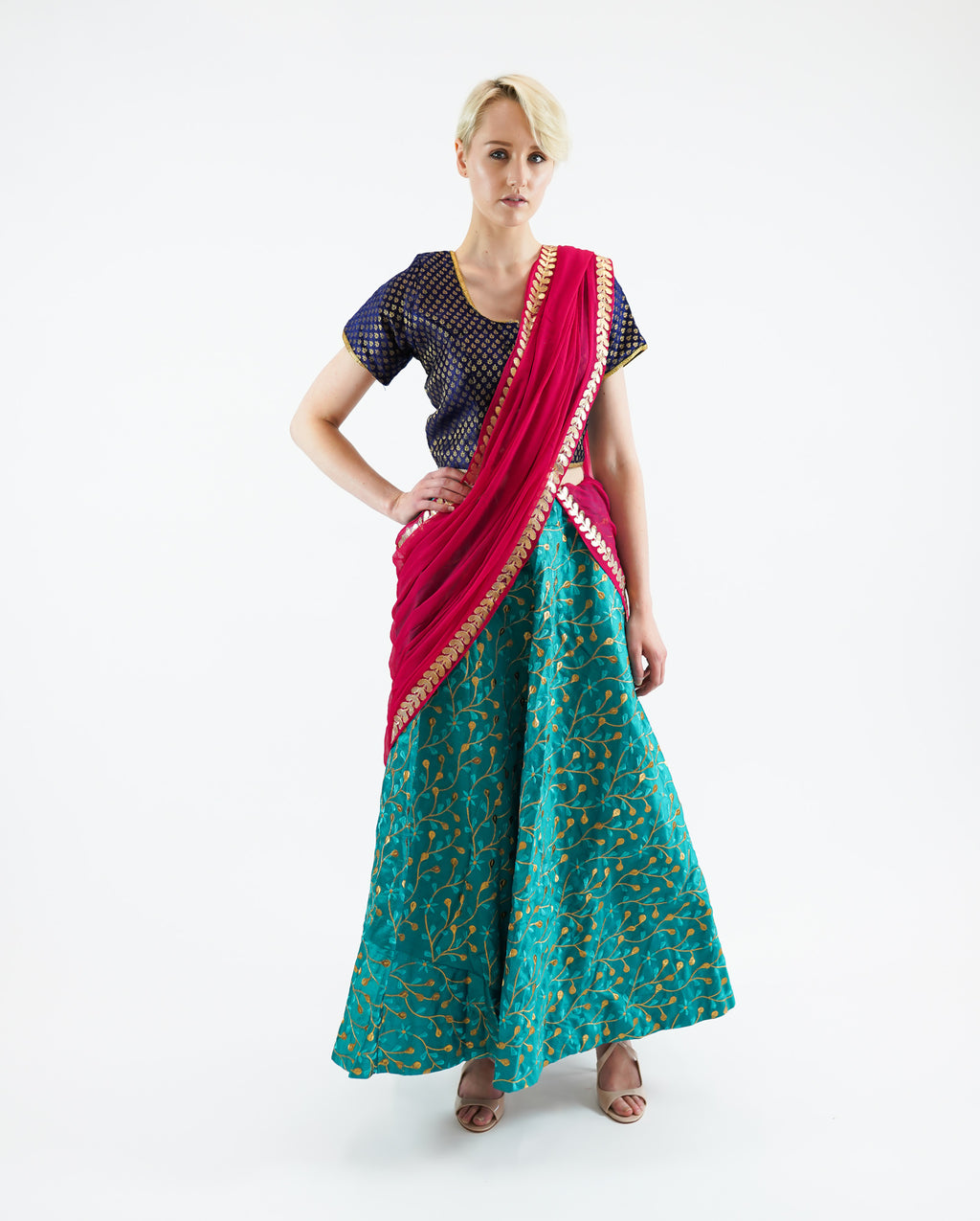 Silk Heavy Embroidered Sea Green Lehenga Skirt