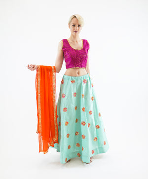 Silk Embroidered Turquoise Blue Lehenga Skirt