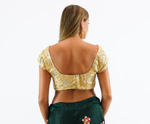 Formal Silk Gotta Patti Work Blonde Yellow Crop Top