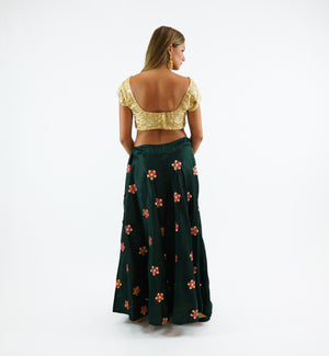 Silk Embroidered Sacramento Green Lehenga Skirt