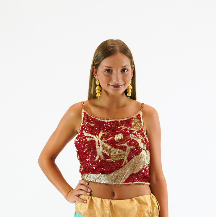 Silk Heavy Embroidered Scarlet Red Sleeveless Crop Top
