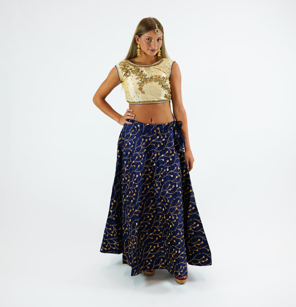 Silk Heavy Embroidered Royal Blue Lehenga Skirt