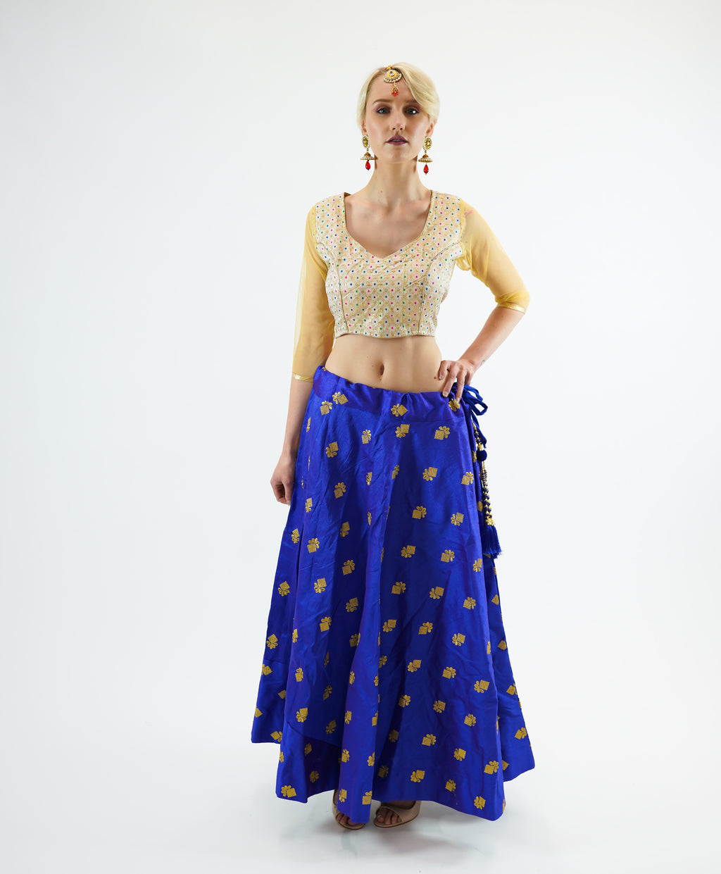 Silk  Embroidered Egyptian Blue Lehenga Skirt