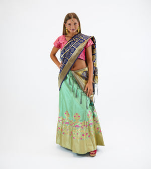 Banarasi Silk Brocade Pear Green Lehenga Set