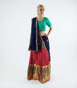 Banarasi Silk Brocade Maroon Red With Shiny ButterScotch Yellow Lehenga Skirt