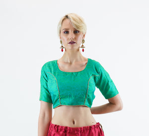 Formal Silk Brocade Paris Green Crop Top