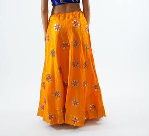 Silk Embroidered Fire Yellow Lehenga Skirt