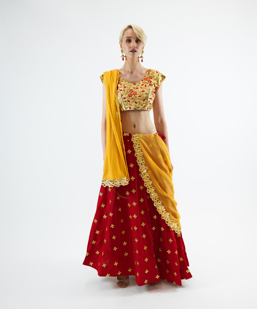 Silk  Embroidered Gotta Patti Work  Carmine Red Lehenga Skirt