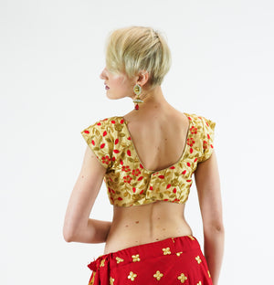 Formal Silk Banana Yellow Gold With Candy Apple Red Embroidered Crop Top