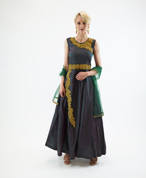 Silk Sea Green Embroidered Gown