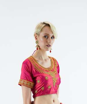 Formal Silk Embroidered Cerise Pink Crop Top